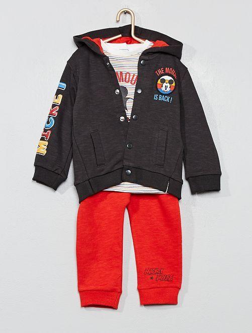 Ensemble sweat + t-shirt + pantalon 'Mickey'                             gris/rouge Bébé garçon