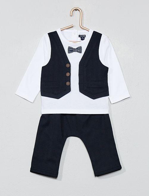 Ensemble t-shirt 2 en 1 + pantalon                             blanc/bleu Bébé garçon