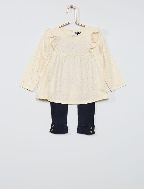Ensemble t-shirt à volant + legging côtelé                                                                 beige pois