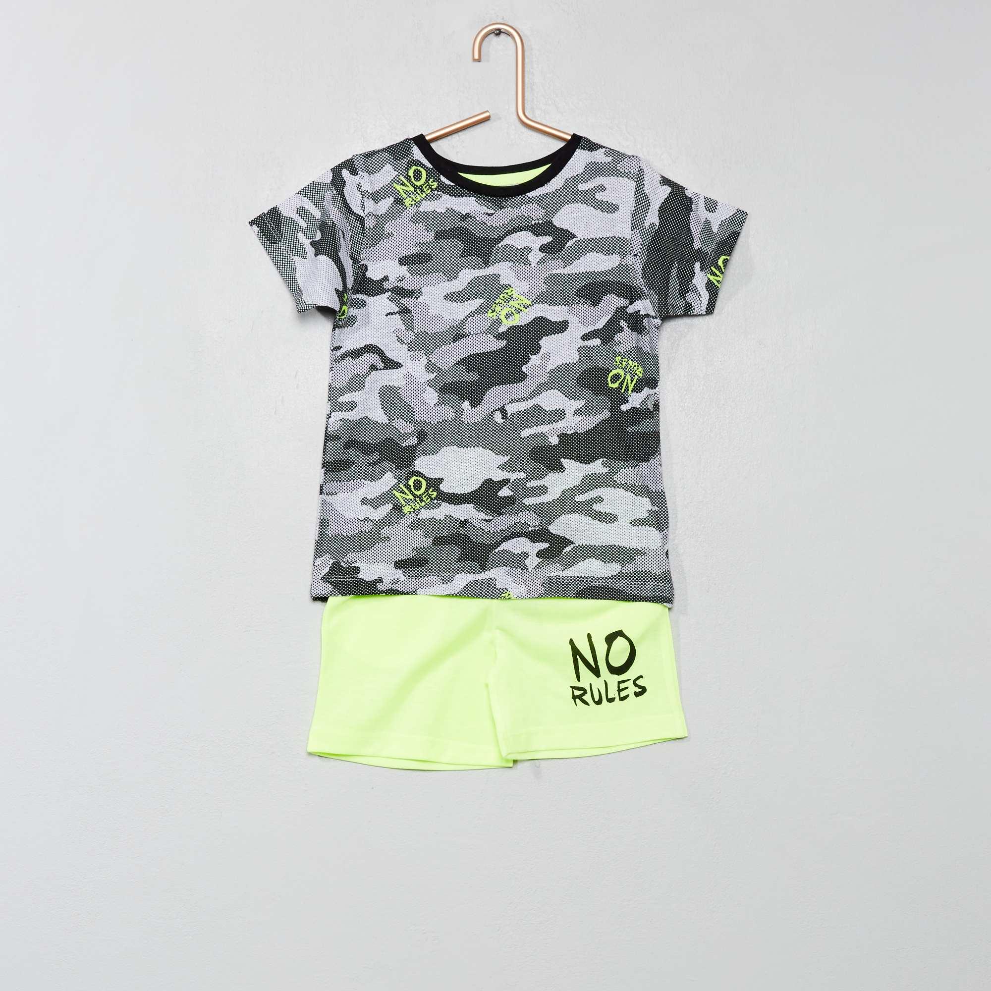 df4f52b8a5aa0 Ensemble t-shirt camouflage + short Garçon - vert - Kiabi - 14