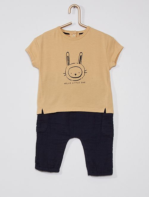 Ensemble t-shirt et pantalon gaze de coton                             beige/marine