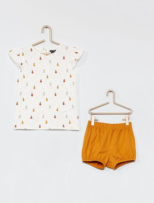 Ensemble t-shirt et short                                             blanc/jaune moutarde