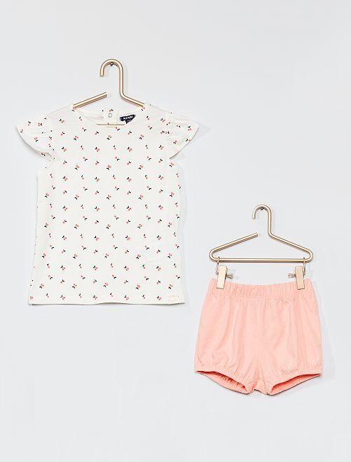 Ensemble t-shirt et short                                                                 blanc/rose