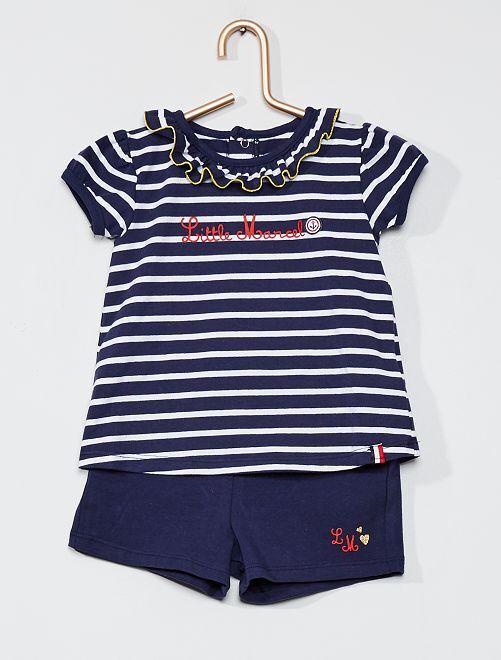 Ensemble t-shirt et short 'Little Marcel'                             bleu/blanc