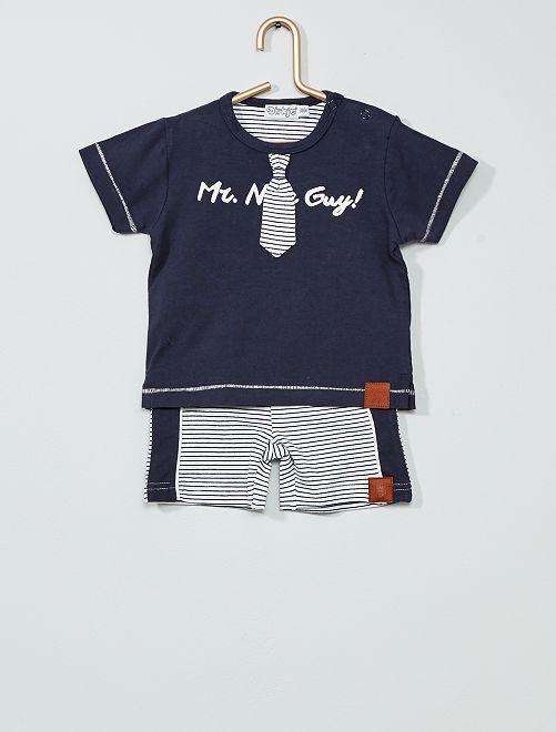 Ensemble t-shirt et short                             marine/blanc