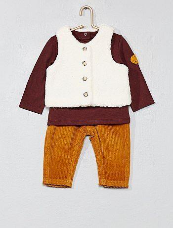 Garçon 0-36 mois - Ensemble t-shirt + gilet + pantalon - Kiabi