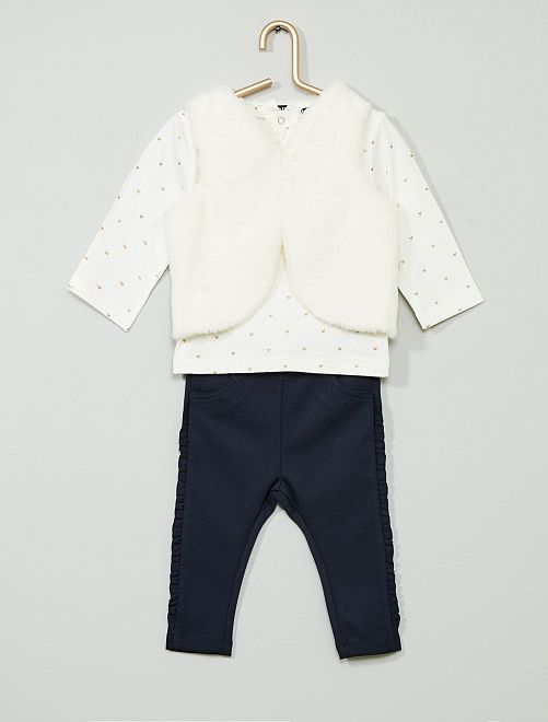 Ensemble t-shirt + gilet + pantalon                                         blanc/marine Bébé fille