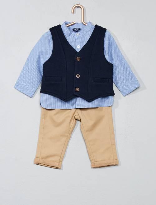 9576b84538eef Ensemble t-shirt + gilet + pantalon Bébé garçon - bleu carreaux - 1 mois ♥