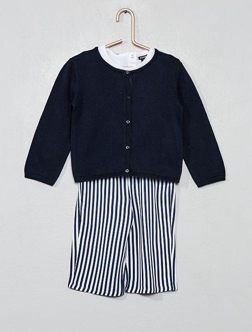 Ensemble t-shirt + gilet + pantalon                                         bleu rayé Bébé fille