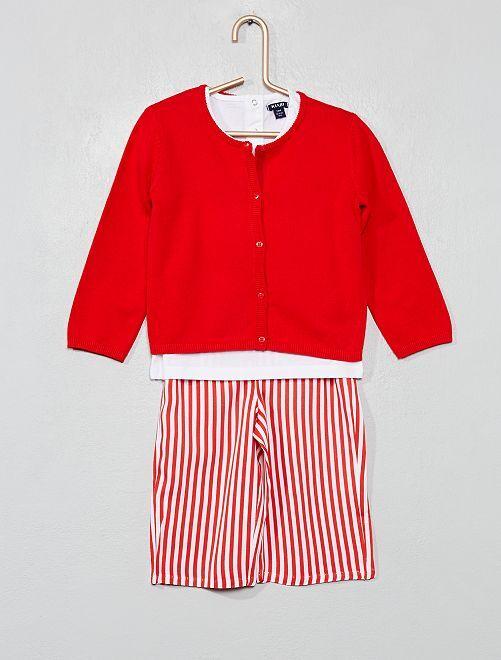 Ensemble t-shirt + gilet + pantalon                     rouge rayé