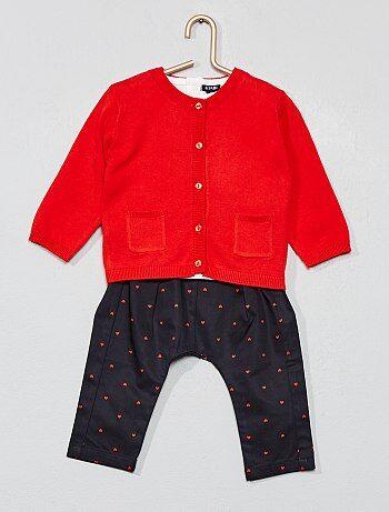 de6127f04a319 Fille 0-36 mois - Ensemble t-shirt + gilet + pantalon - Kiabi