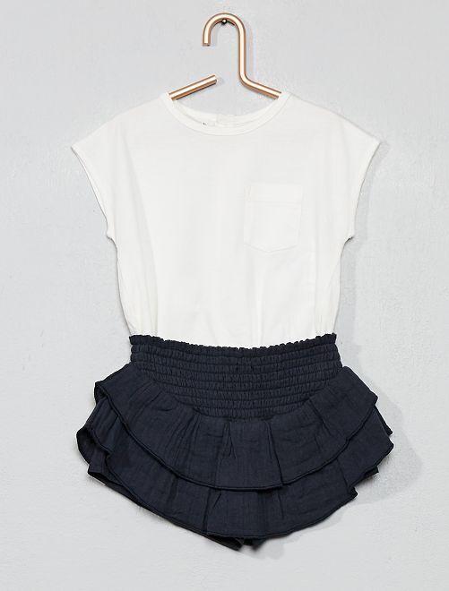 Ensemble t-shirt + jupe-short à volants                             blanc/gris foncé Bébé fille