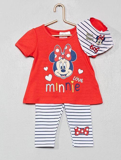 Ensemble T-shirt + legging + bandana 'Minnie'                             rouge