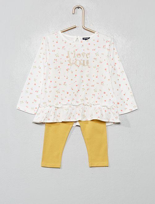 Ensemble t-shirt + legging                                                                 écru/jaune