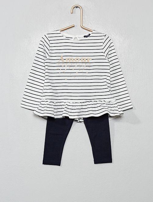 Ensemble t-shirt + legging                                                                 écru/marine