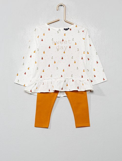 Ensemble t-shirt + legging                                                                 écru/moutarde