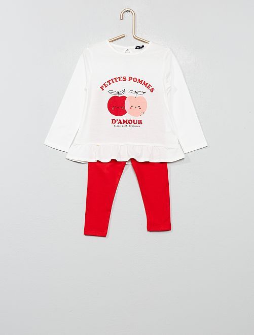 Ensemble t-shirt + legging                                                                                         écru/rouge Bébé fille