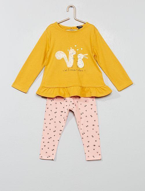 Ensemble t-shirt + legging                                                                                         jaune Bébé fille