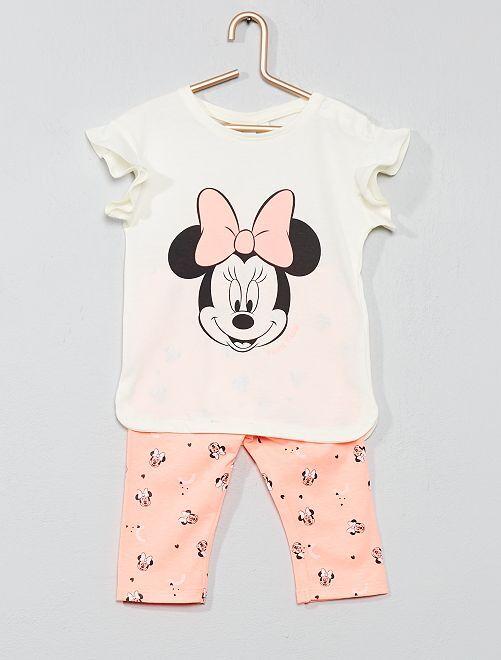 Ensemble t-shirt + legging 'Minnie'                             blanc/rose fluo Bébé fille