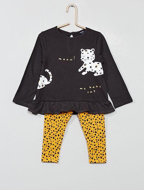 Ensemble t-shirt + legging                                                                                         noir léopard