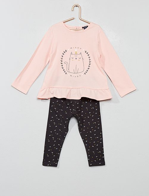 Ensemble t-shirt + legging                                                                 rose chat
