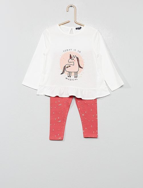 Ensemble t-shirt + legging                                 rose licorne