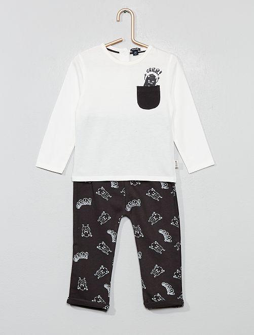 Ensemble t-shirt + pantalon                                                     blanc