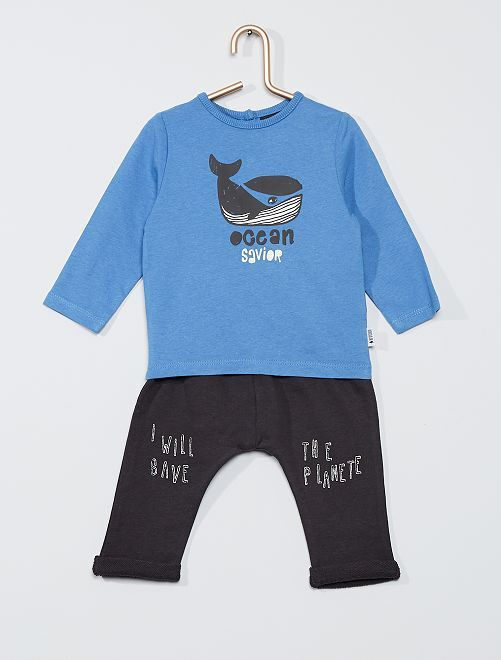 Ensemble t-shirt + pantalon éco-conçu                                         bleu/gris