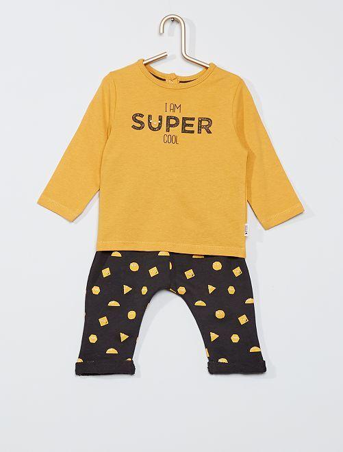 Ensemble t-shirt + pantalon éco-conçu                                 jaune/gris