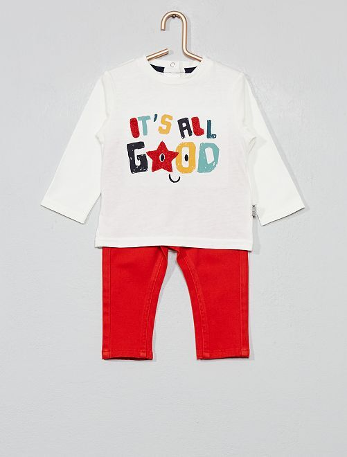 Ensemble t-shirt + pantalon 'good'                                         rouge