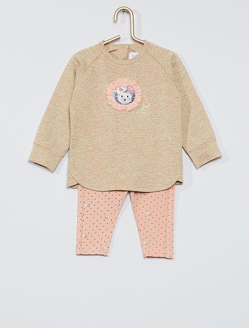 Ensemble t-shirt + pantalon 'hérisson'                             rose/or