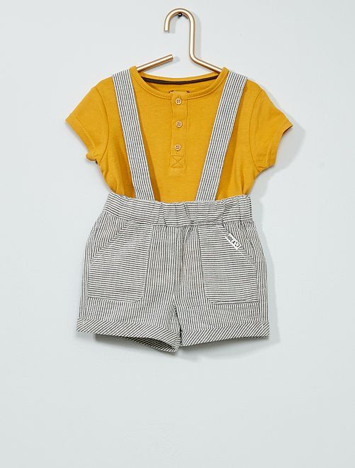 Ensemble t-shirt + short à bretelles                             jaune/gris