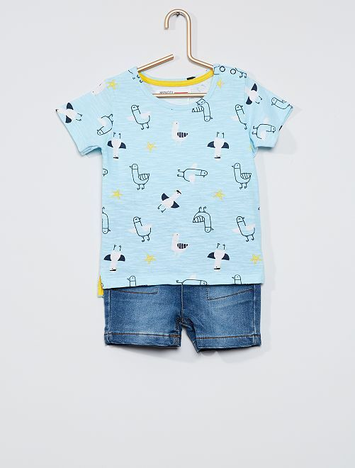 Ensemble T-shirt + short                             bleu