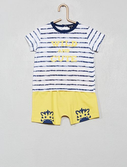 Ensemble t-shirt + short                             bleu/jaune