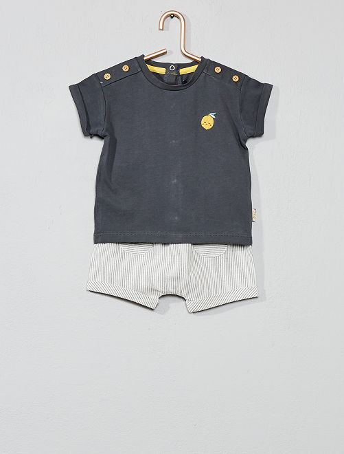 Ensemble t-shirt + short 'citron'                             gris Bébé garçon
