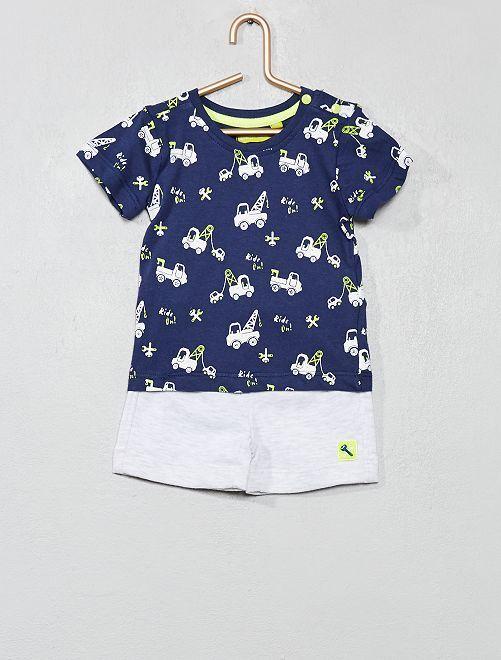 Ensemble T-shirt + short imprimé 'Camions'                                         bleu Bébé garçon