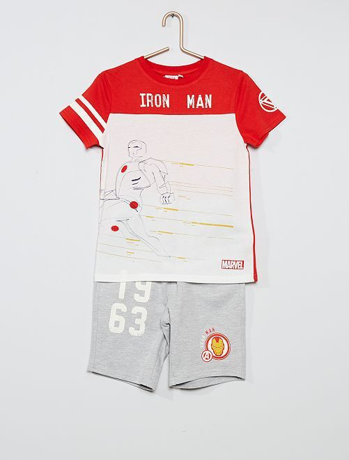 Ensemble t-shirt + short 'Iron Man'                             rouge