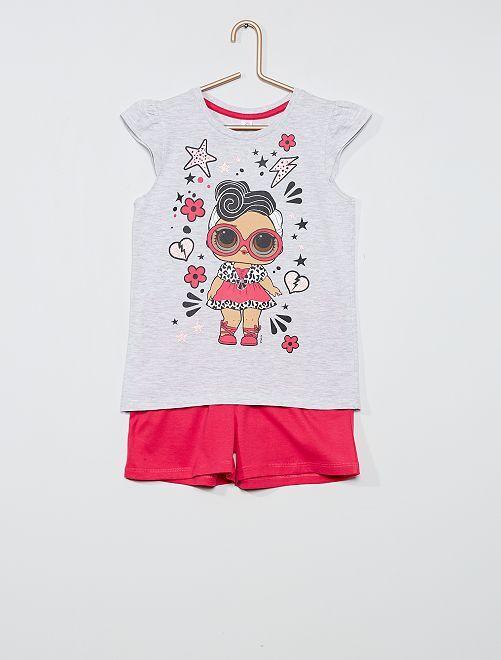 Ensemble t-shirt + short 'L.O.L. Surprise!'                                         gris/fuchsia