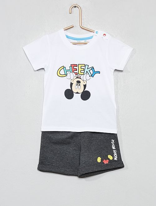 Ensemble t-shirt + short 'Mickey'                                         blanc/gris