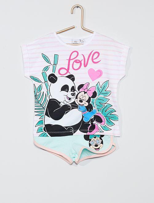 Ensemble t-shirt + short 'Minnie'                                         rose/bleu
