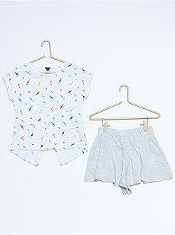 Fille 3-12 ans Ensemble tee-shirt imprimé + jupe short