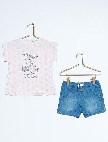 Ensemble tee shirt short `Minnie`