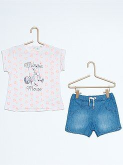 Ensemble, barboteuse - Ensemble tee-shirt + short 'Minnie'