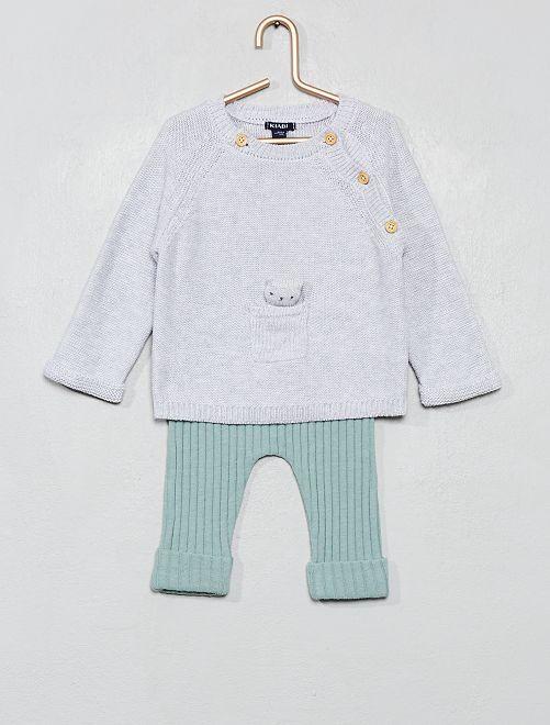 Ensemble tricot 'éco-conception'                             gris