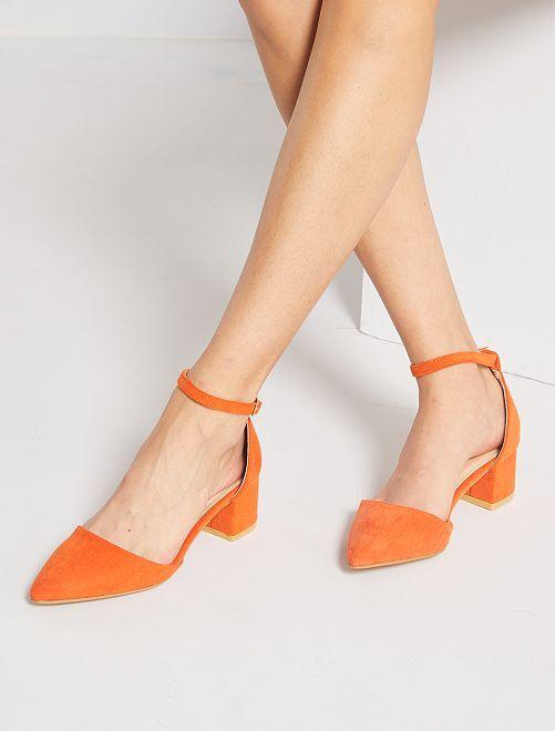Escarpins semi-ouverts en suédine                             orange