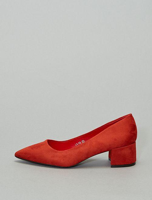 Escarpins talon carré                                                     rouge