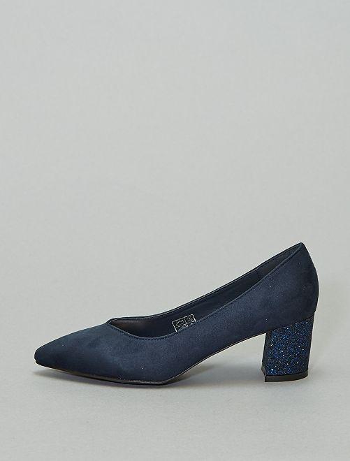 Escarpins talons pailletés                             bleu marine