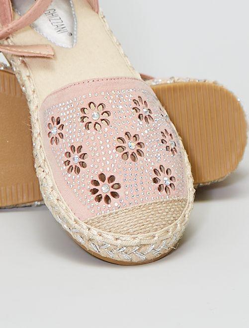 Espadrilles en suédine avec strass                             rose