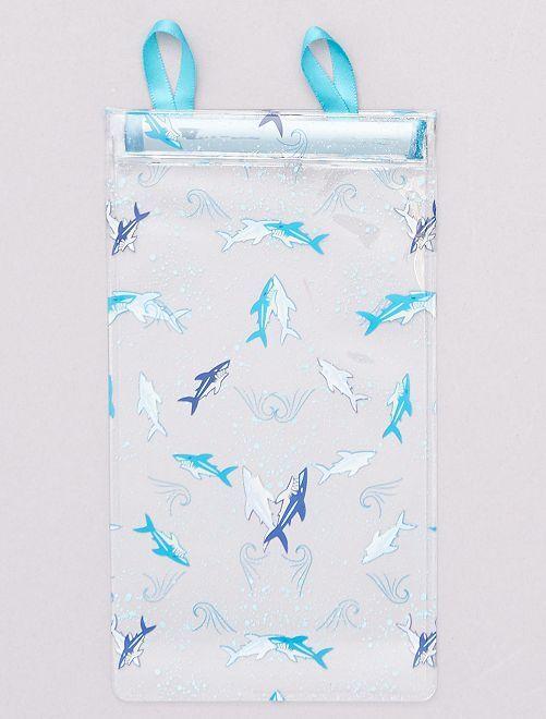 Etui à lunettes transparent                                         bleu/requin