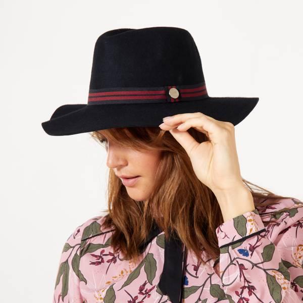 dessin de mode nouveaux prix plus bas thésaurisation comme une denrée rare Fedora en laine avec bande fantaisie